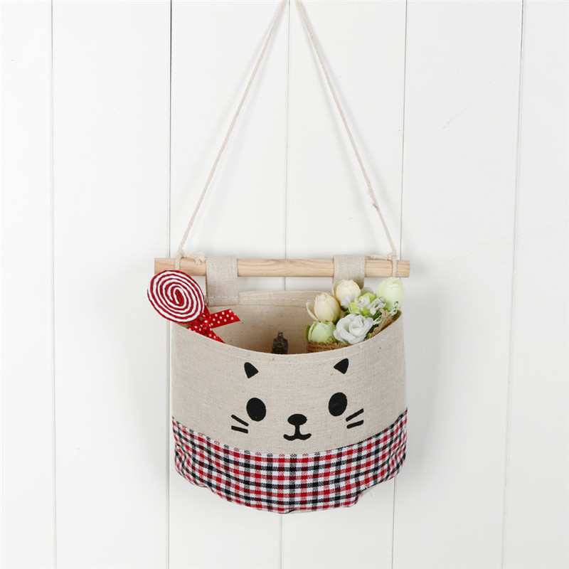 New Cotton Cartoon Cat Hanging Storage Bag Debris Pouch Wall Combination High Quality Hot Sale Wholesale