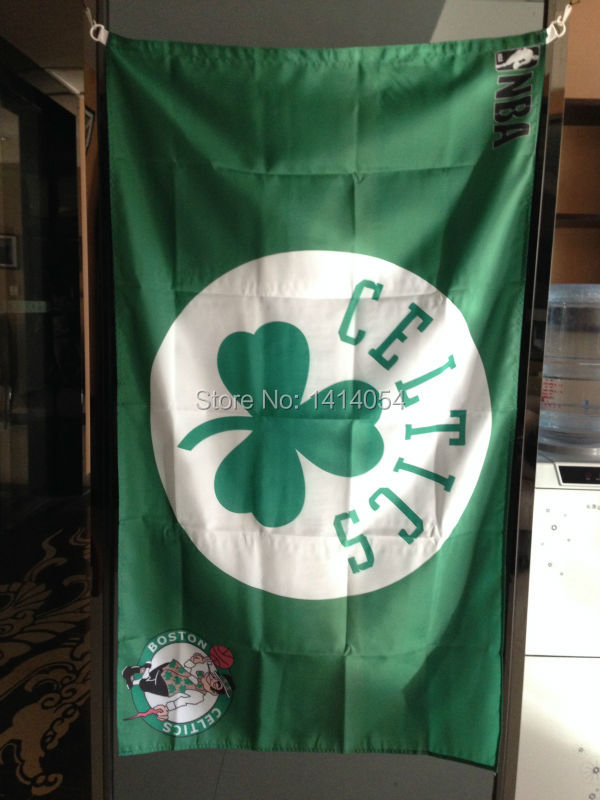 Boston Celtics Flag 150X90CM NBA 3X5FT Banner 100D Polyester grommets custom009, free shipping ...
