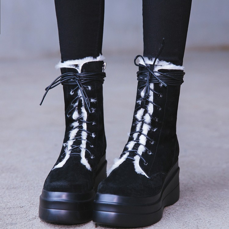 Negro Para {zorssar} Tobillo Zapatos Nieve Nueva Botas 2018 Caliente Invierno Mujeres Gamuza Tacón Las De Plataforma Alto Llegada Mujer Cuero r8THxq0r