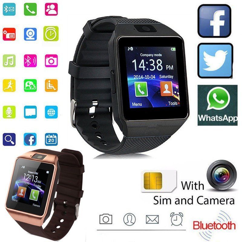 Smart Watch DZ09 Android Phone TF Sim Card Camera Men Women Sport Wristwatch with Packing Box black one size 9