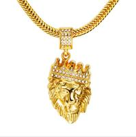 Winter New Arrival Men S Necklace Diamond Crown Lion Head Hip Hop Pendant Necklace