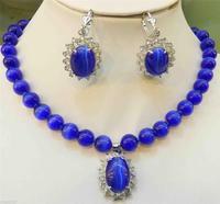 Safir Mavi Meksika Opal Yuvarlak Boncuk Mücevher Kolye Kolye Küpe Seti 18