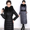 New 2016 Winter Women Parka Duck Down Jacket Luxury Real Fox Fur Collar Long Belt Thick Hood Outerwear Female High Quality Coat