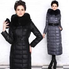 New 2016 Winter Women Parka Duck Down Jacket Luxury Real Fox Fur Collar Long Belt Thick Hood Outerwear Female High Quality Coat
