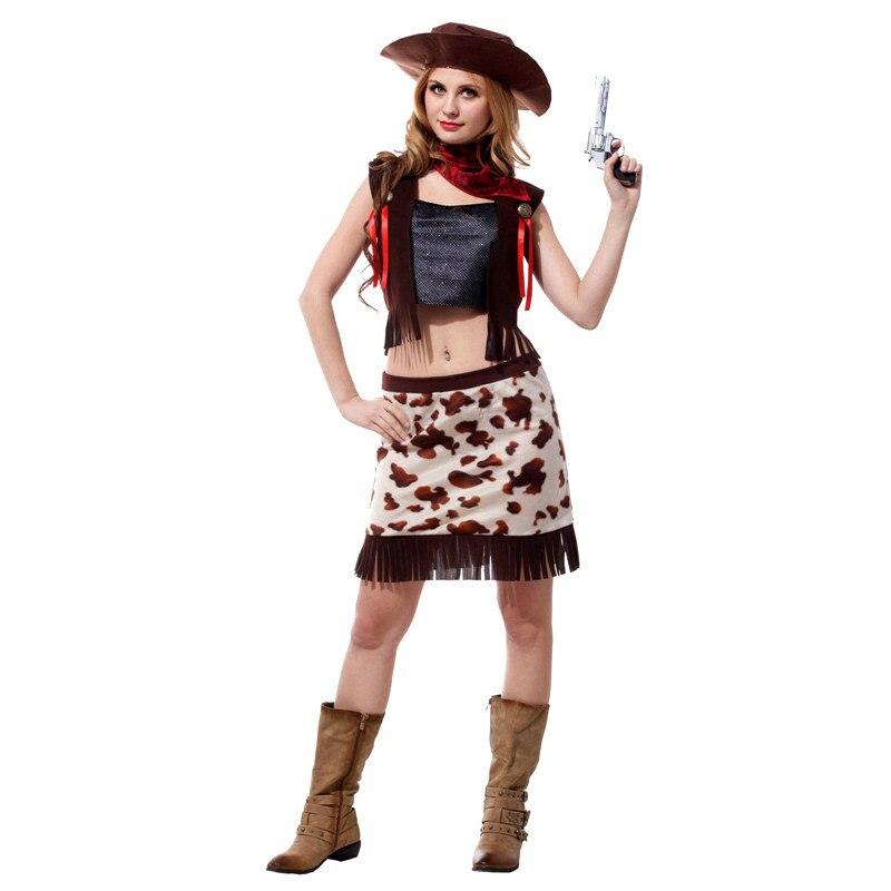 adbea8380aa3 R$ 74.95 14% de desconto|Fantasia feminina Mulher de Cowboy Cowgirl Cosplay  Halloween Sexy Fantasias de Carnaval no Brasil Purim performance de Palco  ...