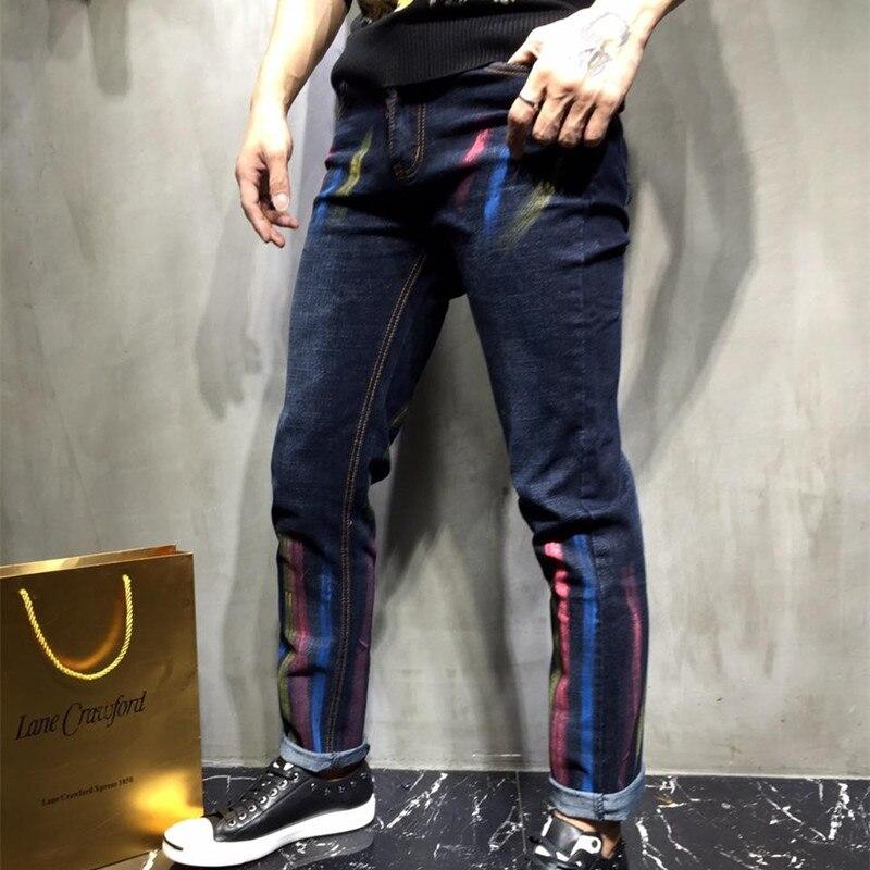 ФОТО brand personality graffiti painted dark blue Slim small straight leg jeans Metrosexual male fashion leisure trousers 2017