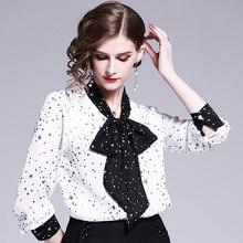 Новые весенне-летние женские элегантные шифоновые блузки с воротником-бабочкой и принтом звезды женские рубашки и топы для работы в офисе