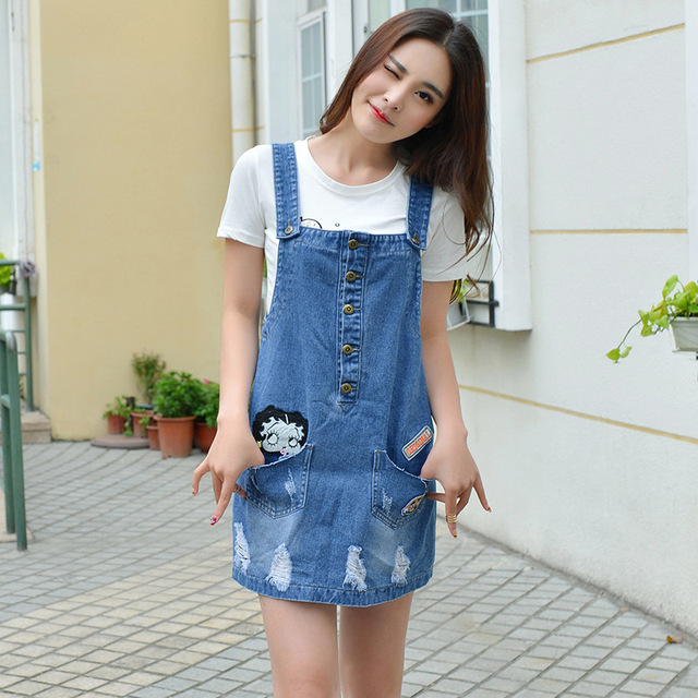 ripped denim skirt overalls embroidery preppy