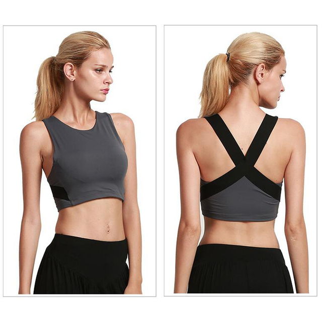 fdc44732eefc8 Fitness Yoga Sports Bra for Women Gym Workout Running Padded Tank Top  Patchwork Cross Top Ladies Seamless Slim Sportswear