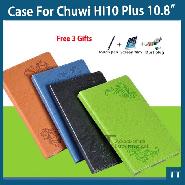 For Chuwi Hi10 plus case High quality Pu Leather Case For CHUWI Hi10 plus 10.8 Inch Tablet PC + free 3 Gifts