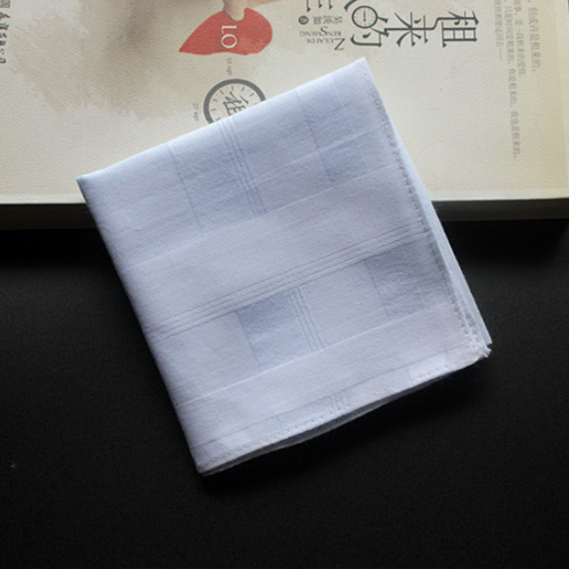5 Pieces/lot Handkerchiefs Cotton 100% Unisex Hankies Plaid Handkerchiefs White Thick 43*43 Cm