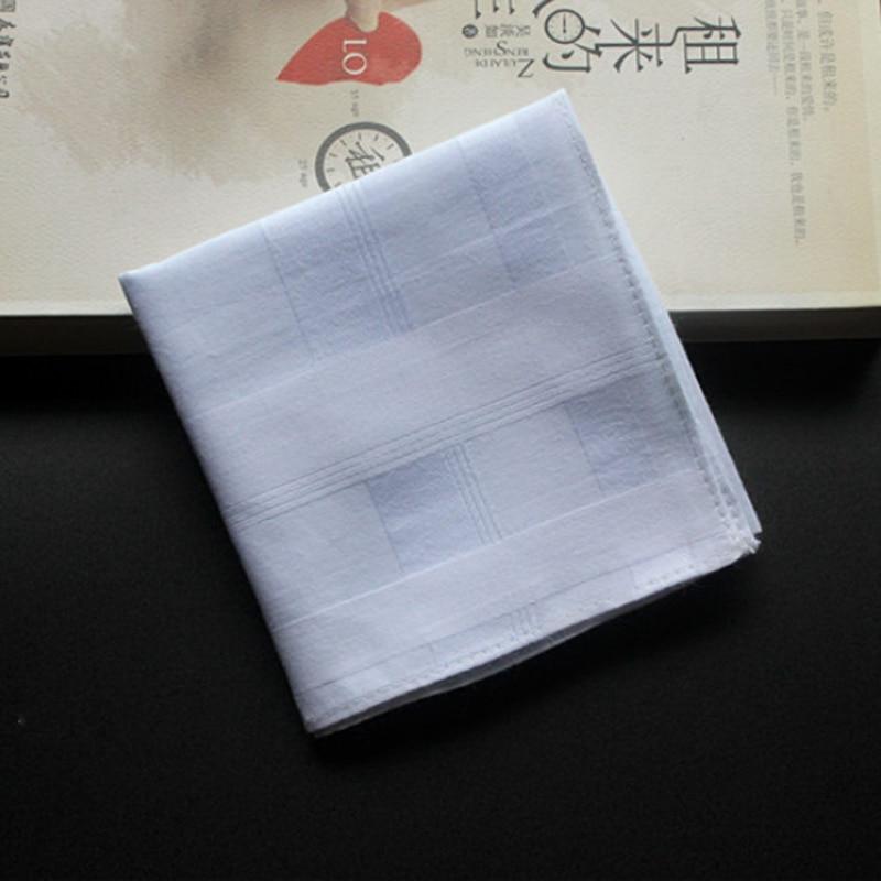 5 Pieces/lot Handkerchiefs Cotton 100% Unisex Hankies Plaid Handkerchiefs White Thick 43*43 Cm