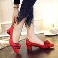 Women Pumps 2017 Spring New Square Heel Velvet Shoes Pointed Toe Wafer Flower Low Heeled Work Shoes Rivet Casual Pumps 3.5 CM