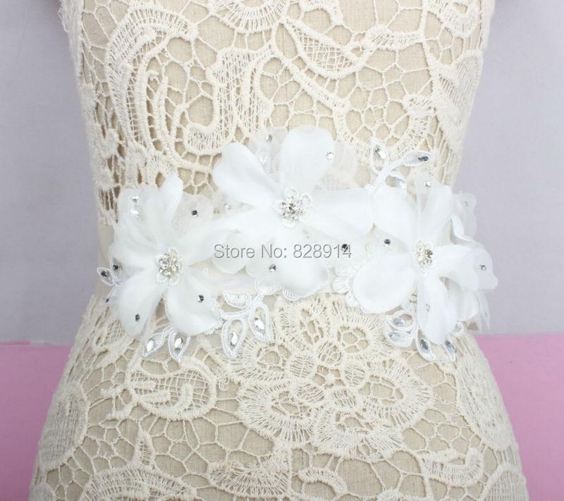 Wholesale Luxury White Flower Wedding Dress Sash Bridal Belt Very Beauty DIY Wedding Dress