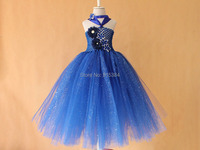 New Royal Blue Glitter Tutu Dress Handmade Crochet Sparkling Kid Children Long Tutu Party Dresses Free