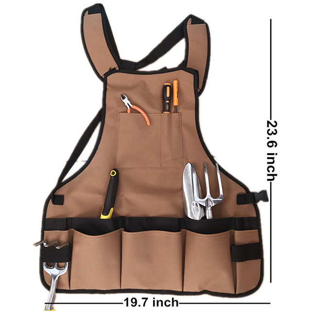 Canvas Garden Apron With Storage Pockets Men Women Gardeners Planting Work  Clothes Sleeveless Aprons Craft Work
