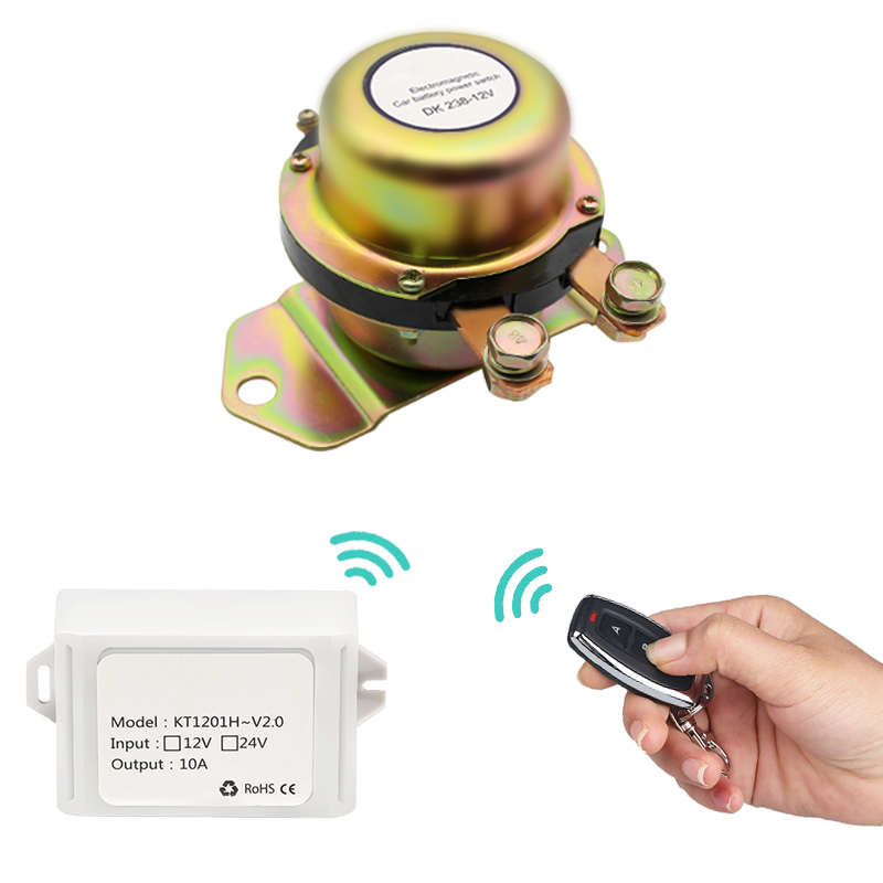 Auto Power Terminal Car Battery Switch 12V Electromagnetic Solenoid Disconnect Latching Relay With Remote Control