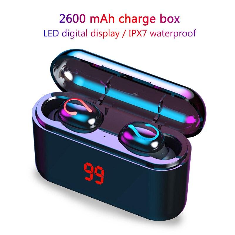 Mini TWS 5.0 Bluetooth 8D Stereo Earphone Wireless Earphones IPX7 Waterproof Earphones Sport Headphones With 2600mAh Power Bank
