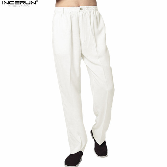 a9bb667af58 Hot Sale Solid Casual Cotton Linen Pants Men Chinese Traditional Style Kung  Fu Pants Mens pantalon