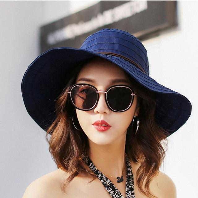 Nova Praia Verão Arco Chapéus para Mulheres Aba Larga chapéu de Algodão Chapeu  Panamá Feminino de b782875d499