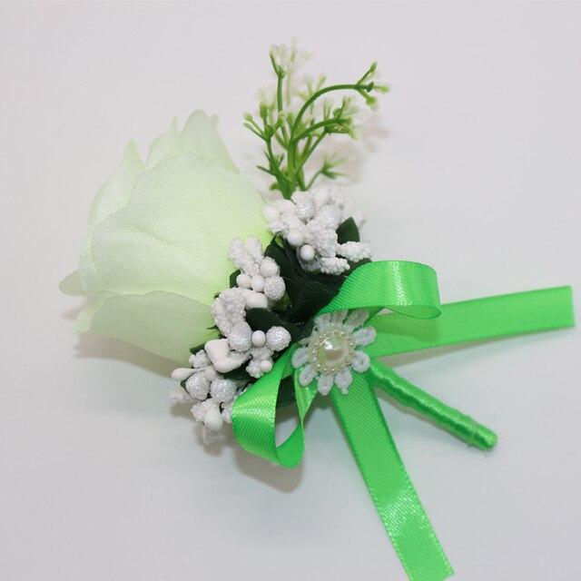 5 Pcs Lot Handmade Guest Boutonnieres Silk Rose Artificial Flowers Groomsman Best Men Corsage Pin