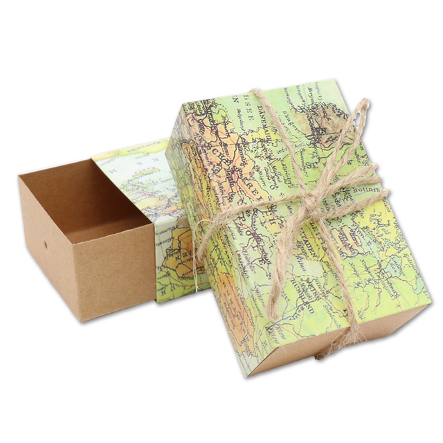 50pcs novelty world map gift box for christmas decorations kraft paper candy boxes for guests wedding