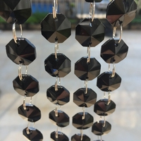 Best Sale 25meters 14mm Crystal Octagon Beads Diy Beads Black Crystal Chandelier Beads Garland Strand Curtain Chains Decoration.