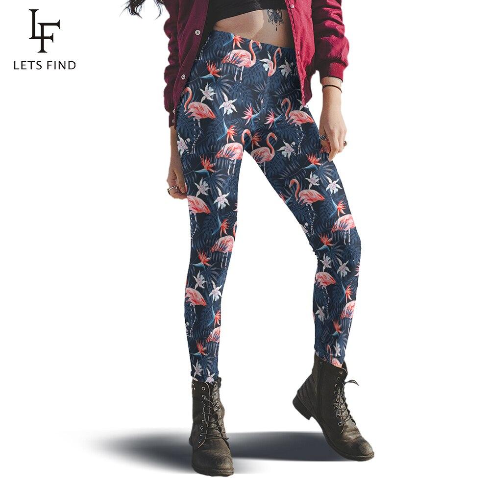 New 11 Style Women Mid Waist Flamingo Leggings Fashion High Quality Milk Silk  Plus Size Warm Push Up Leggings Hot Sale