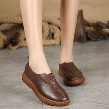 New spring womens the first layer of leather shoes retro mother flat
