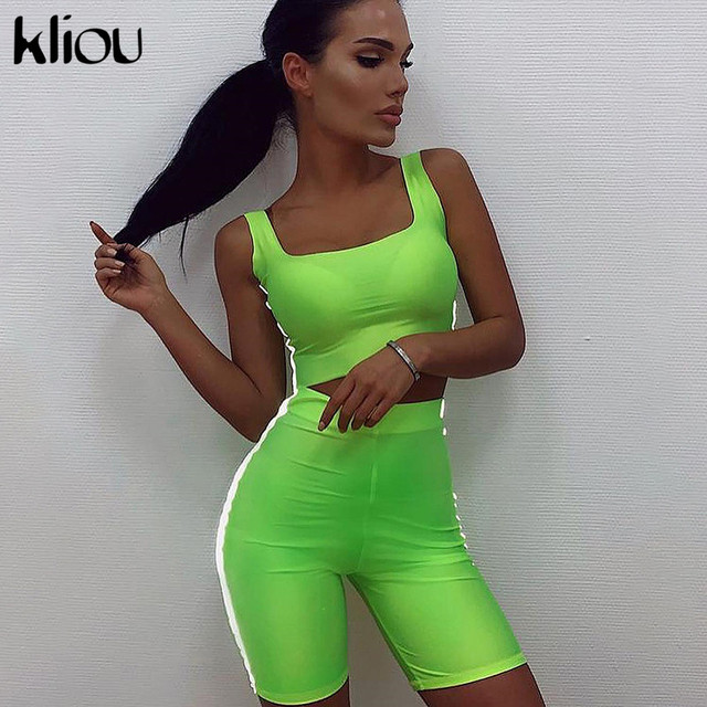 Kliou 2019 new women two pieces set Reflective striped patchwork sexy skinny strapless crop top elastic shorts tracksuit outfits