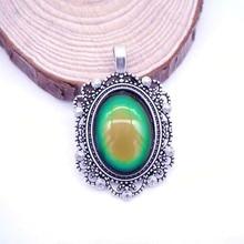 Unique Pendant Vintage with Mood Color Stone Change Alloy Emotion Feeling Changing Necklace Pendants