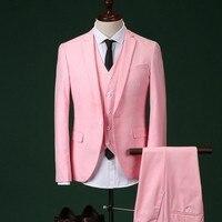 2017 Erkekler Slim Fit Pembe Pantolon Ile Suit Düğün Damat Erkek Takım Elbise Balo Parti Yemeği Smokin Erkekler Için (ceket + Pantolon + + yelek + kravat)
