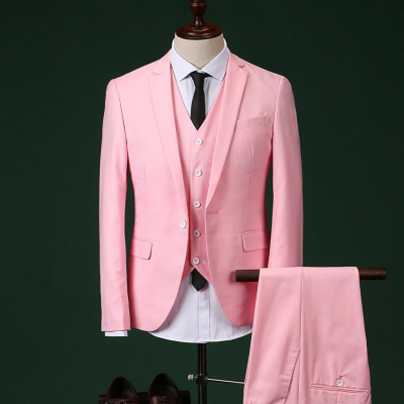 2017 Men Slim Fit Pink Suit Wedding Groom Mens Prom Suits With Pants Party Dinner Tuxedos For Men ( jacket+Pants++vest+tie)