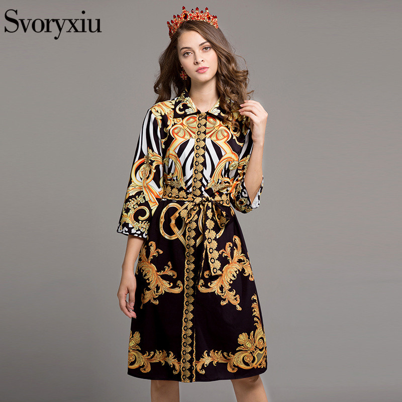 SVORYXIU Designer Vintage Dress Women High Quality 3/4 Sleeves 2017 Summer Baroque Printing Turn Down Collar Mini Dress + Belt