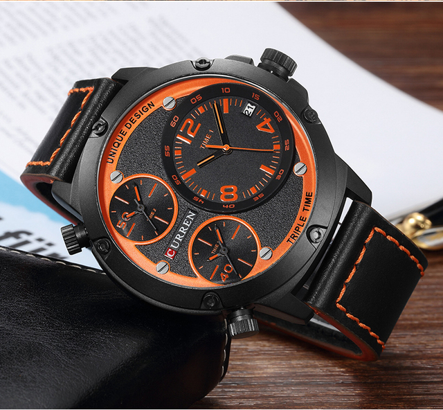 CURREN Unique Analog Military Sports Quartz Wrist Watch For Man Leather Strap