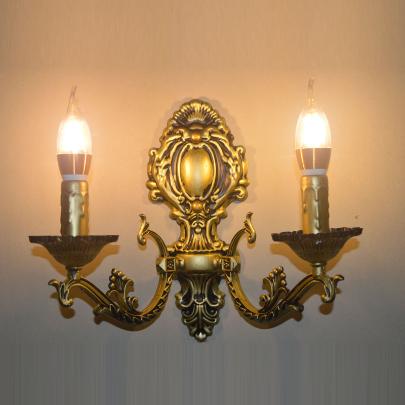 Vintage European iron candle bronze wall lamp home deco rustic antique DIY aluminum E14 bulb wall sconce light fixture fashion rustic iron bedroom bedside wall light fixture home deco living room e27 wall lamp european vintage glass wall sconces