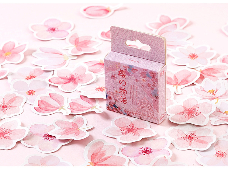 Купить с кэшбэком 45PCS/PACK Kawaii Cute Sakura Flower Sticker Marker Planner Diary School Stationery Stickers Scrapbooking Bullet Journal sl1998