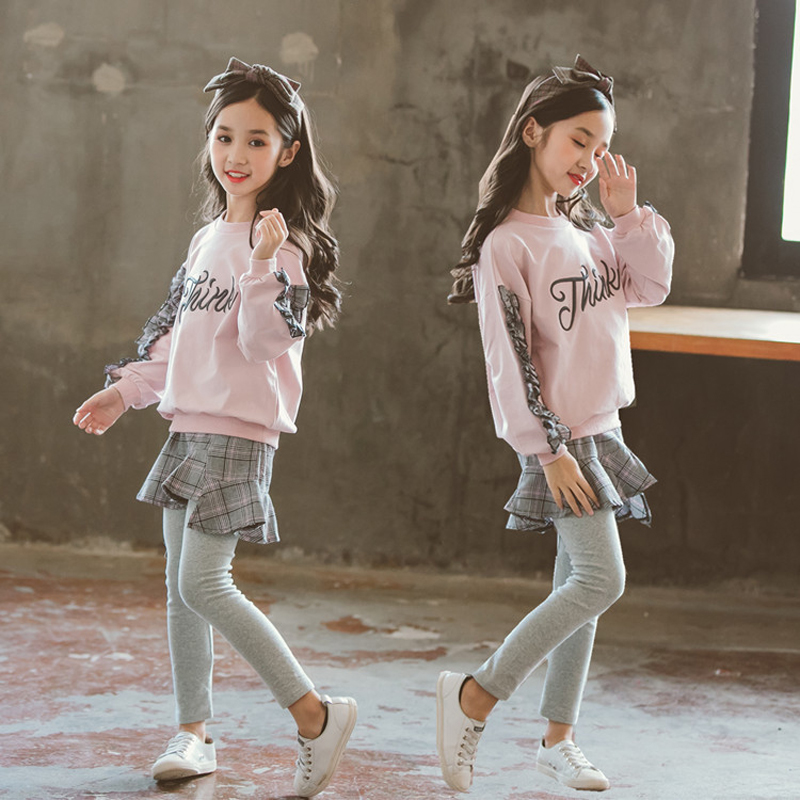 New Fashion 2 Pieces Suit Autumn Spring Girls Clothing Sets Childrens Wear Long Sleeve Pink Sweater and Culotte New Fashion 2 Pieces Suit Autumn Spring Girls Clothing Sets Childrens Wear Long Sleeve Pink Sweater and Culotte