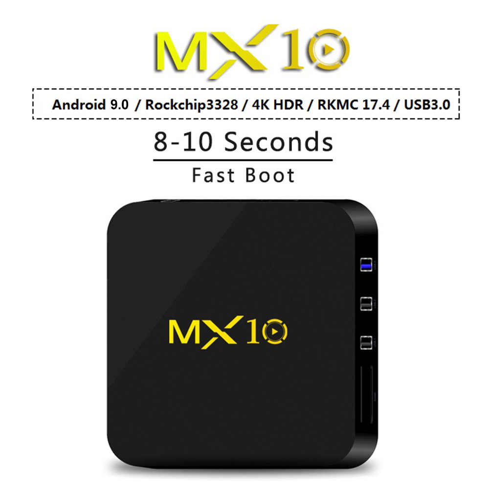 MX10 Android TV Box Android 9.0 RK3328 4K VP9 H.265 HDR10 USB3.0 4 GB/64 GB DLNA Miracast wifi LAN HD đa Phương Tiện