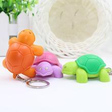 Creative Turtle Keychain LED Light Sound Key Ring Holder Bag Hanging Pendant #01 seal style led white light keychain w sound grey 3 x ag10