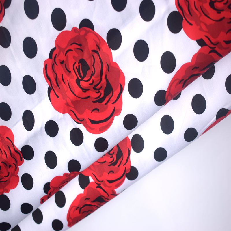 ширина 145 см хвиля точка рожевого друку бавовна розтягнутий атлас плюшева тканина метр для плаття DIY tissueu au метр дешевих тканин tecido