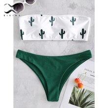 Bikinx Купальник бандо женский пуш-ап купальник женский с принтом кактуса микро бикини сексуальный купальный костюм для пляжа Бикини Новинка