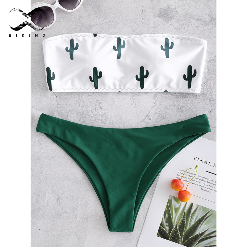 Bikinx Bandeau Swimwear Women Push Up Swimsuit Female Cactus Print Micro Bikini 2020 Sexy Bathing Suit Beach Bathers Biquini New