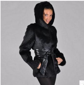 Womens Hooded Faux Mink Fur Jackets Long Section Man-Made Fur Overcoats Female Winter Outwears Casaco De Pele Falso S/6XL Cj77