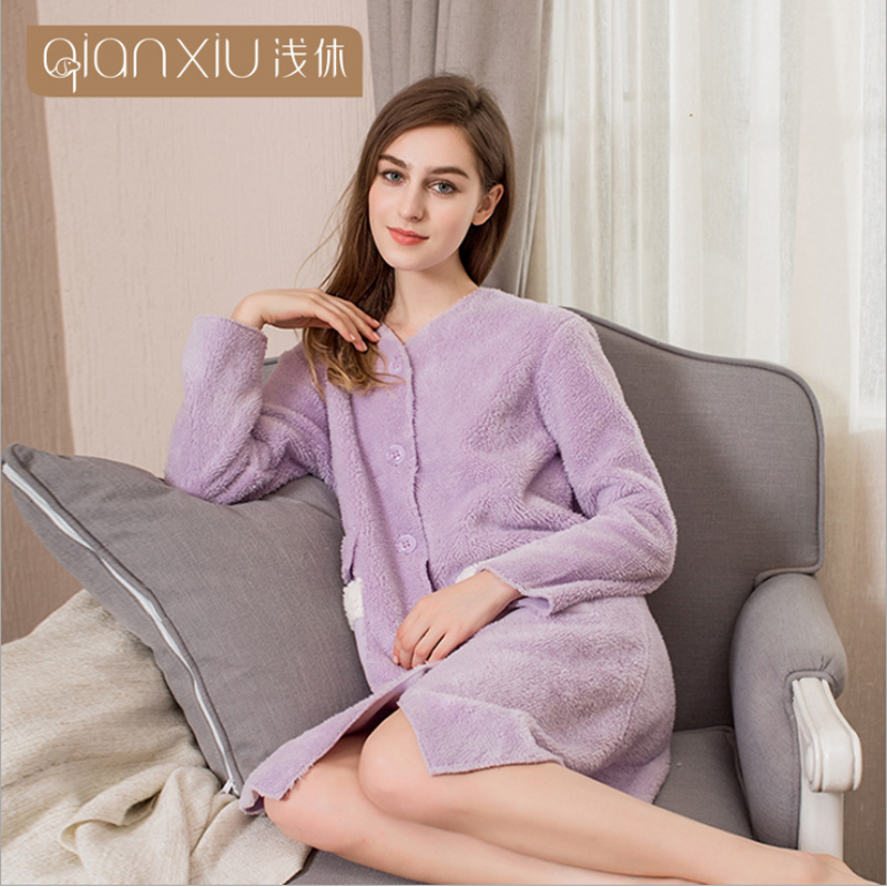 2019 Autumn Winter Robes Women Pajamas Female Thicken Flannel Robes Ladies Long Sleeve O neck collar