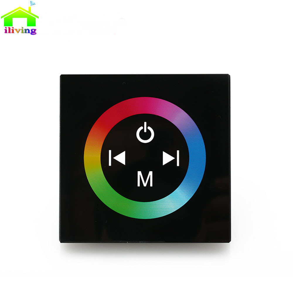 2.4G DC12V 4A*3CH Black Tempered Glass Panel Touch Screen RGB Led Strip Dimmer Wall Sticker Controller For Home Light Decoration dsu family rules wall sticker for home decoration