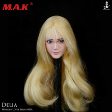 цены 1/6 scale WONDERY female girl young lady woman head sculpt with eye movable headplay model toys for 12