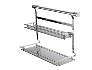 Image 1 - Stainless steel kitchen storage rack shelf bathroom shelf double layer rack shelf spice jar rack double layer shelf