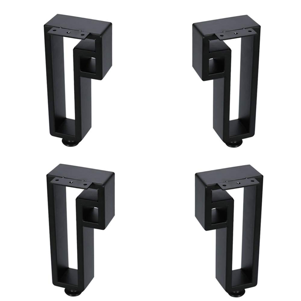 4Pc Height 9.8-Inch Metal Furniture Legs Adjustable Support Table Legs Square Tube Sofa Coffee Table Bathroom Cabinet Feet Black