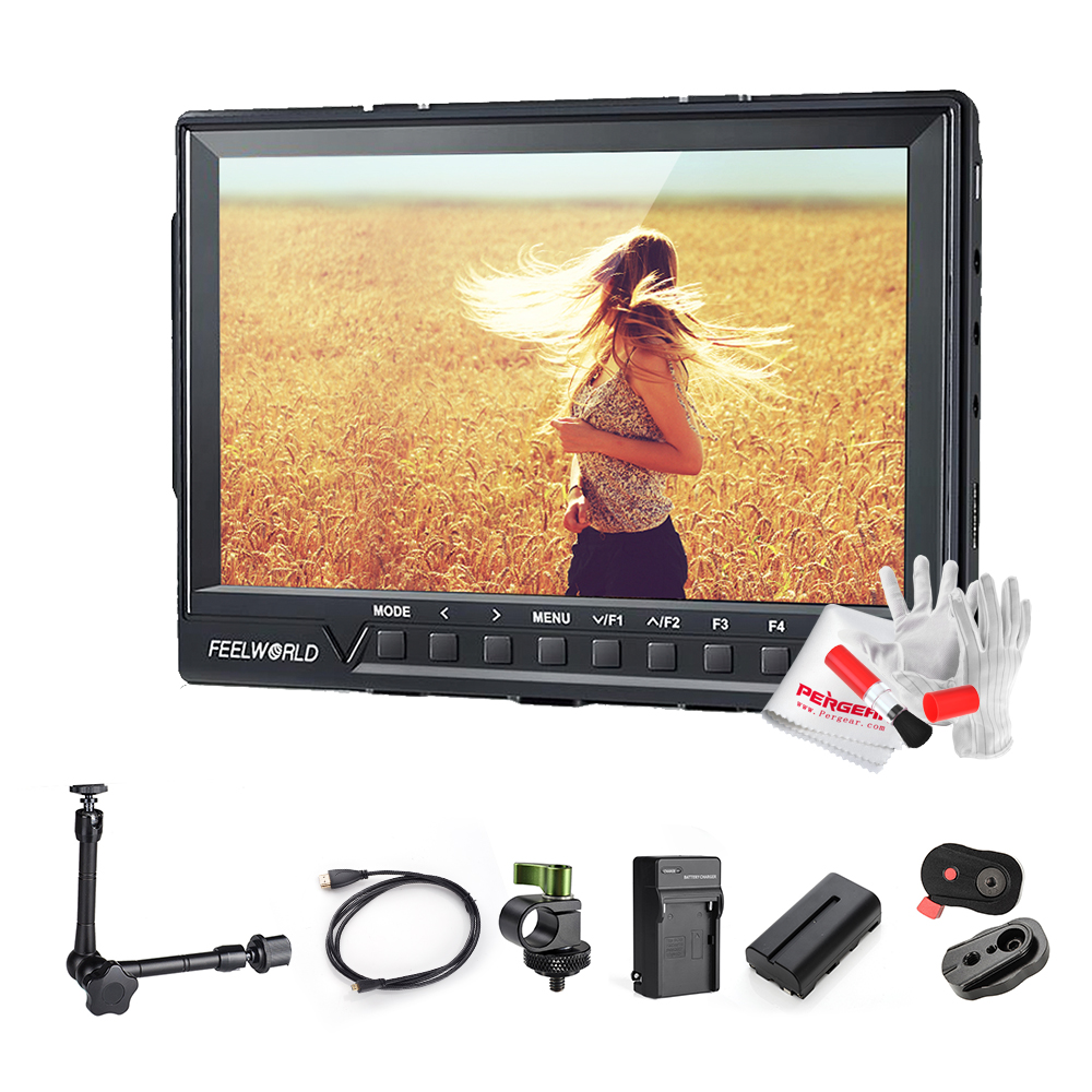 Feelworld FW760 7 Inch IPS Full HD 1920x1200 Support Up 4K On Camera Field Monitor 11 Magic Arm 2200mAh Battery 1200:1 Contrast